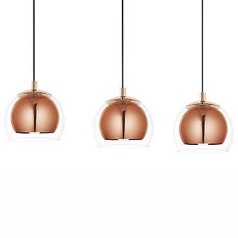 Eglo Rocamar Triple Bar Copper And Glass Pendant