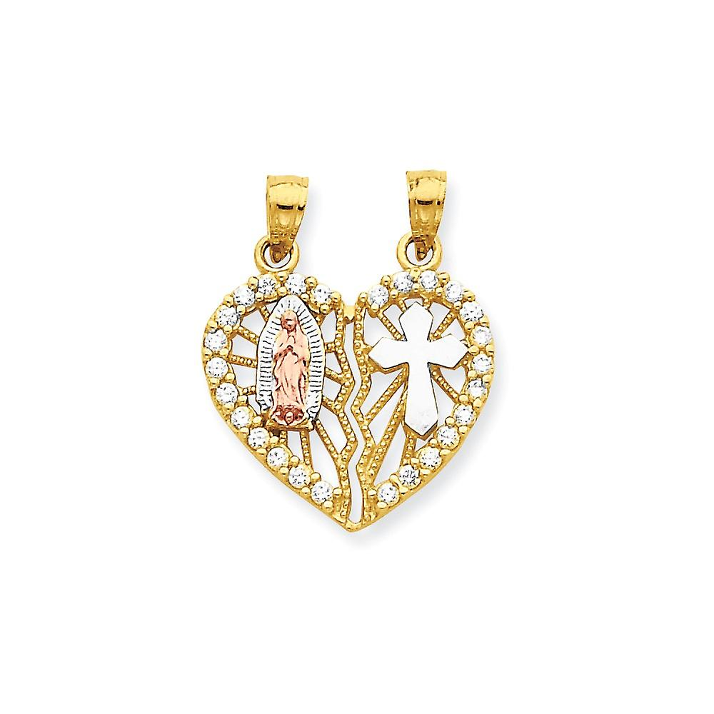 10k Two Tone Rhodium Textured Gold CZ Cubic Zirconia Simulated Diamond Religious Break apart Love Heart Pendant Necklace