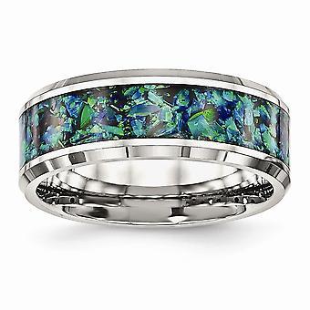 Roestvrij staal gepolijst met blauwe imitiatie gesimuleerde Opal 8mm Mens Ring Sieraden Geschenken voor mannen - Ring Grootte: 7 tot 13