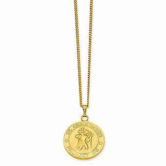 14k Gold Plated Solid Spring Ring Polished and satin Engravable (back only) St. Christopher Medal Necklace 42mm With 24