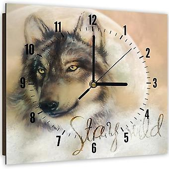 Decorative Clock With Picture, Wolf 2