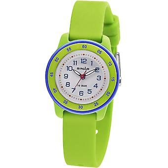 SINAR jeugd horloge Kids horloge analoge Quartz silicone lint XB-22-3 groen