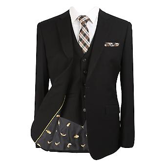 Designer Mens & Boys Matching 3 Piece Slim Fit Black Business Suit Set