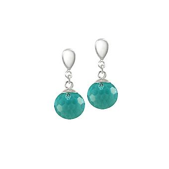 Eternal Collection Chelsea Aquamarine Crystal Disco Ball Stainless Steel Drop Clip On Earrings