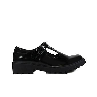Geox Casey J8420E Black Patent Leather Girls Buckle T Bar School Shoes