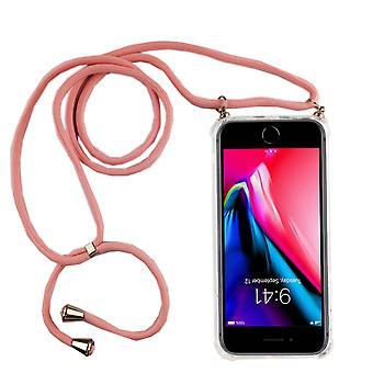 Telefoon keten voor Apple iPhone 7 plus/8 plus-smartphone ketting geval met band-snoer met geval te hangen in roze