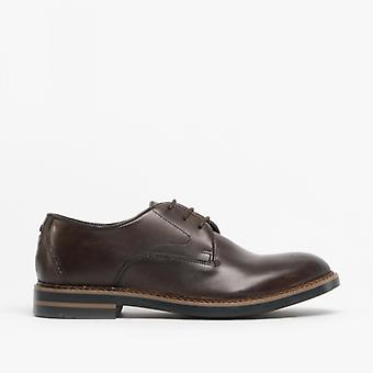 Base London Wayne menns Leather Derby sko polert Cocoa