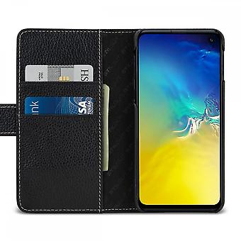 Case For Samsung Galaxy S10e Black Grained Card Holder In True Leather