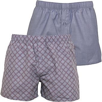 Hanro 2-Pack Fancy Woven Geo Print Boxer Shorts Gift Set, Light Blue/multi