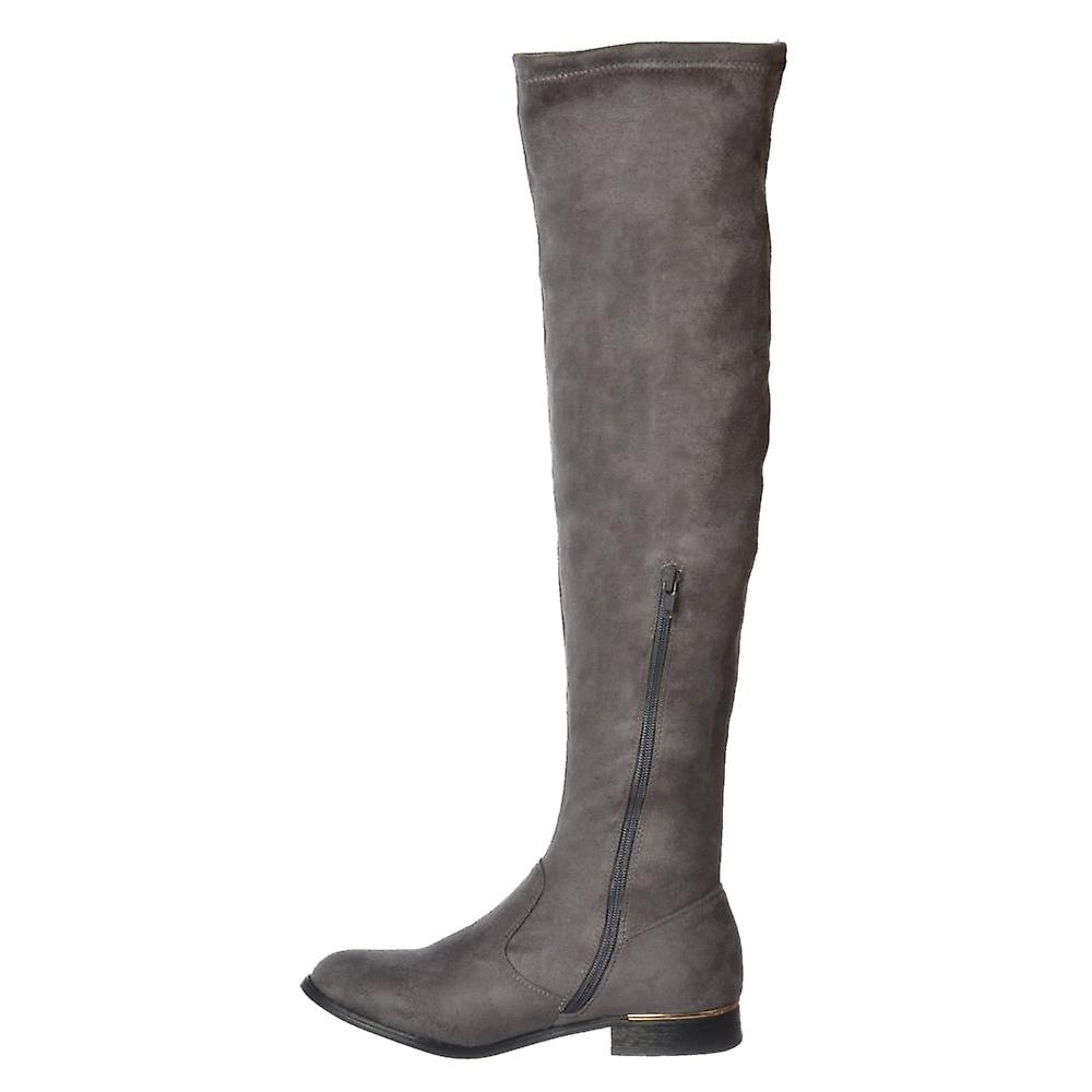 Onlineshoe Over The Knee Thigh High Flat Metal Trim Boot