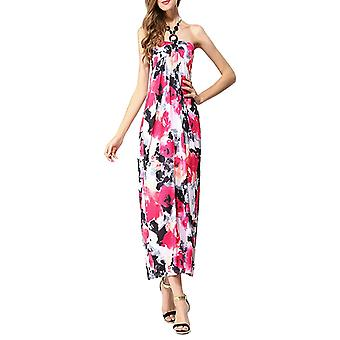 Vincenza ladies floral print summer beach casual maxi day dress long halter neck