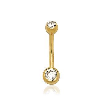 14k keltainen kulta kierros CZ cubic zirkonia simuloitu timantti 14 mittari kehon korut vatsa rengas toimenpiteet 22x6mm korut lahjat