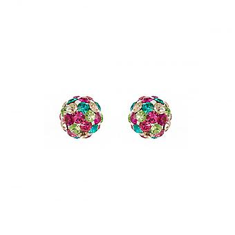 Eternity Sterling Silver Kids 6mm Boucles d'oreilles Multi-Colour Crystal Ball Stud