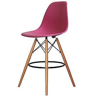 Charles Eames Styl Różowy plastikowy stołek barowy