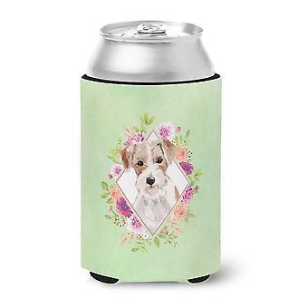 Jack Russell Terrier Green Flowers Can or Bottle Hugger