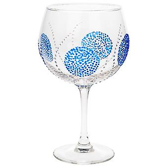 Sunny by Sue handmålade Gin & Tonic Copa glas-blå burst