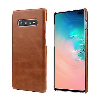 Pour Samsung Galaxy S10 PLUS Case, Brown Elegant Genuine Leather Phone Cover