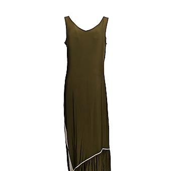 Attitudes by Renee Dress Como Jersey Maxi w/ Ruffle Hem Green A301376