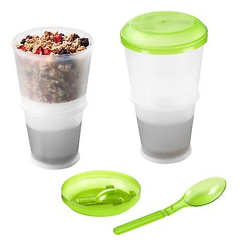 Cereal Cup Granola Travel Mug Insulated Milk Cooling Compartment - Muesli On The Go