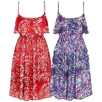 Pistachio Women's Tropical Leaf Print Summer Sun Dress