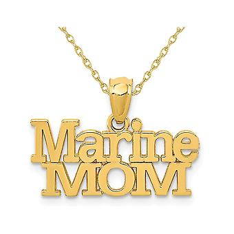 14K Yellow Gold Marine MOM Pendant Necklace with Chain