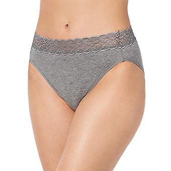 Vanity Fair Women's Flattering Lace Cotton Stretch Hi, Heather Grey, Size 8.0
