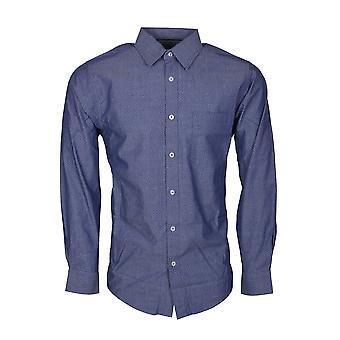 Byron Långärmad tryckt skjorta i Denim Blue