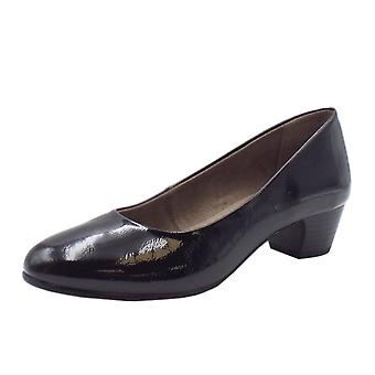 Soft Line 22360 Candice Wide Fit Court Shoes In Black Patent