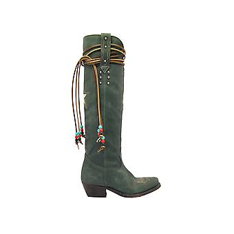Golden Goose G35ws930c3 Women's Green Leather Boots