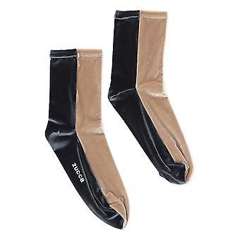 Zucca Zu99ai21603 Women's Beige/black Velvet Socks