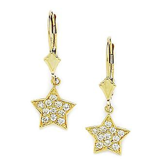 14k Yellow Gold CZ Cubic Zirconia Simulated Diamond Star Drop Leverback Earrings Measures 26x10mm Jewelry Gifts for Wome