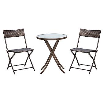 Outsunny 3PC Rattan Bistro Set 2 Folding Rattan Chair Glass Topped Coffee Table Garden Patio Balcony Outdoor Wicker Furniture - Brown