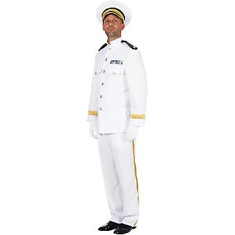 Herren Kostüme Männer weiß Offizier Captain