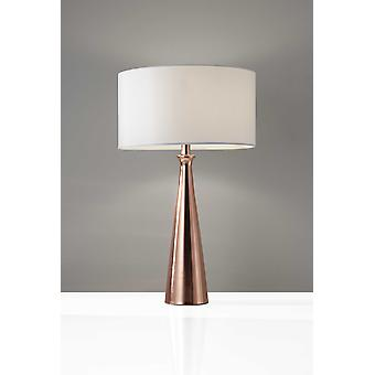 Brushed Copper Metal Finish Tapered Base Table Lamp