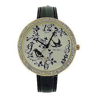 Henley Ladies Two Tone Goldtone Feathery Friends Black Patent Strap Watch H06072.2