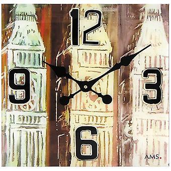 AMS 9489 wall clock quartz analog square vintage antique retro