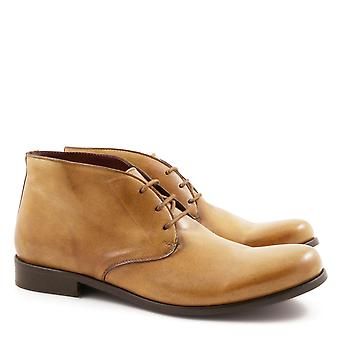 Handmade ankle boots for men in tan calf leather