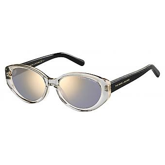 Sunglasses women's oval black/transparent/silver