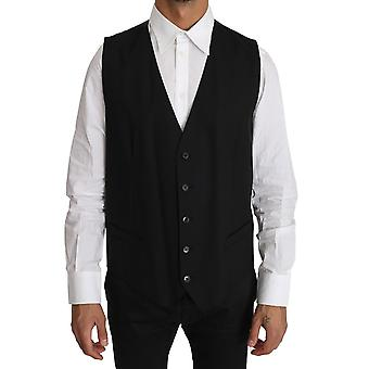 Dolce & Gabbana Black Solid Wool Stretch Waistcoat Vest -- TSH2659248