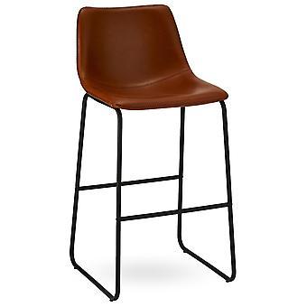 Ibbe Design Indiana Bar stol Cognac Faux Läder - Uppsättning av 2, 46x54x97 cm