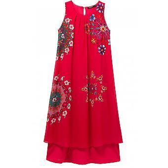 Desigual الوردي الأزهار طباعة اللباس ساشا