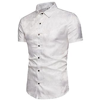 Allthemen Men's Pointed Collar Printed Summer Personalized Casual Short Sleeve Shirts