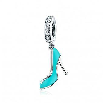 Sterling Silver Pendant Charm Blue High Heels - 6564