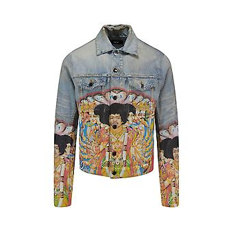 Amiri Y0m04382debin Men's Light Blue Cotton Outerwear Jacket
