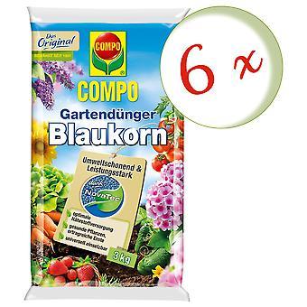Sparset: 6 × كومبو حديقة الأسمدة الحبوب الزرقاء® نوفاتيك® 3 كجم