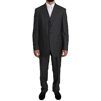 Grey Striped Two Piece 3 Button Wool Suit