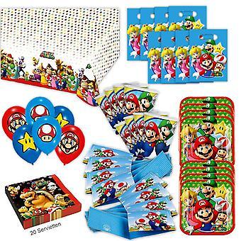 Super Mario Party conjunto XL 68-teilig para a pacote de festa de aniversário decoração 8 convidados Nintendo
