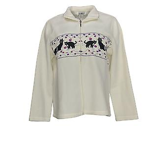 Metropolitan Women's Sweater Novelty Embroidered Zip Front White