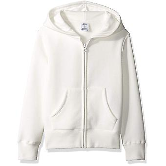 Essentials   Girls' Fleece Zip-up Hoodie, White M (8)