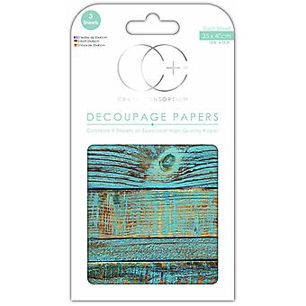 Craft Consortium Blue Brushed Wood Decoupage Papers
